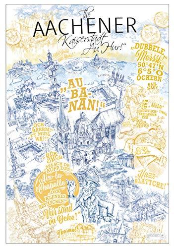Lieferlokal Stadtposter Aachen in limitierter Auflage - 70x100 cm Aachen Poster Unikat - Wandbild mit illustriertem Stadtmotiv - Kunstdruck Poster mit Editionsnummer