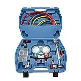 Manómetro Aire Acondicionado para Coche Válvula Doble R134A,Manifold Gauge Set Freon Aire Acondicionado Refrigerante Calibrador de Presión con Anillos Termometro Equipo de Reparación de Diagnóstico