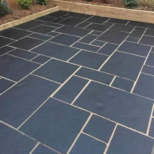 Natural indio azul negro piedra caliza cortada a mano al aire libre paquete de tamaño mixto azulejos pavimentación losas banderas 15,25 m2 piedra decorativa para jardín