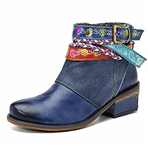 Socofy Mujer Botines de Trabajo en Piel Genuina Zapatos de Trabajo Mocasines de Primavera Flores Botas Casuales Botín…   DeHippies.com