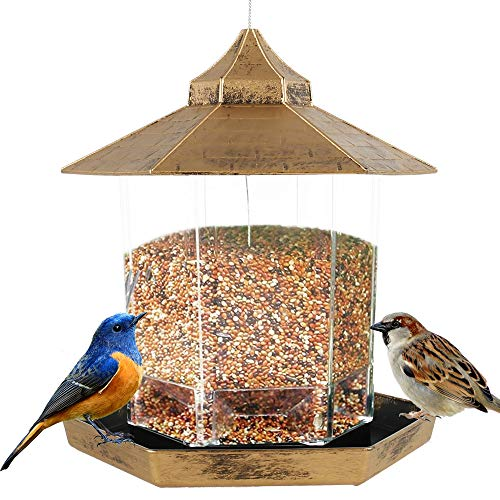 Hanging Bird Feeder Stations Feeding House for The Garden Birds Outdoor Table Plastic Food Container Wild Birds Seed Peanut Nut Feeding Station with Handle for Outdoor Garden Decors (Golden)