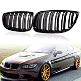 DYBANP Grille Grill para BMW E92 2Door 2006 2007 2008 2009 Car Styling Frontal Gloss Matte Black M Color Dual Line Front Grille Kidney Grill