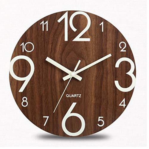 WHOHO Relojes de Pared Luminosos de 12 Pulgadas, pequeño Reloj de Pared de Madera con luz Nocturna analógica, silencioso y sin tictac
