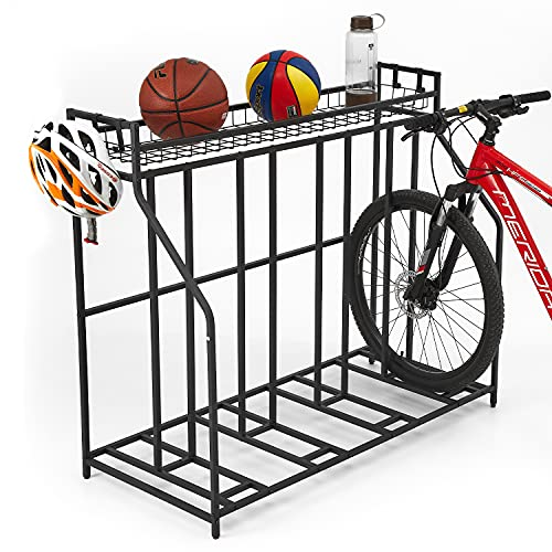 HEALTH LINE 4 Bike Stand Rack with Storage, Garage Organizer - Metal Stability Floor Bicycle Nook...