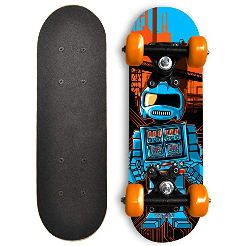 Rude Boyz 17 Inch Mini Wooden Cruiser Graphic Beginner Skateboard (Robot Design)