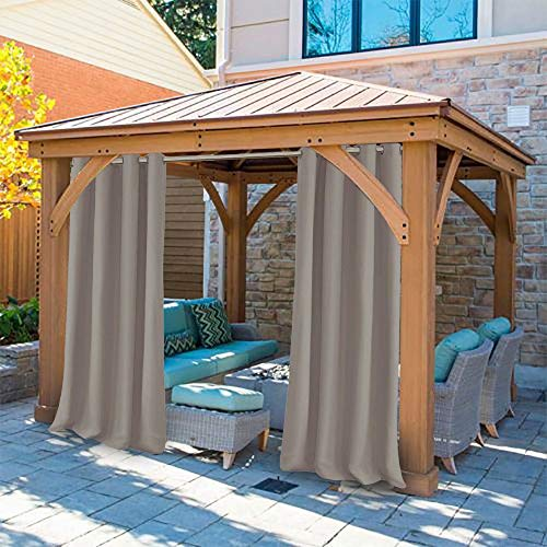 UniEco - Outdoor Curtains for Gazebo with Eyelets, Mildew Resistan Pergola Curtains, Perfect for Garden Patio Balloon of Pavilion Beach House, 1 Piece, 50' W*84' H, Taupe Grey