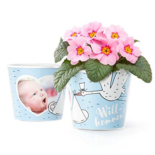 Facepot Blumentopf (ø16cm) | Taufgeschenk oder Geschenk zur Geburt für die Eltern eines Jungen, mit Rahmen für 2 Fotos (10x15 cm) | Willkommen! Storch in Baby Blau
