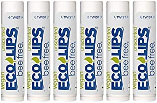 Eco Lips Bee Free Vegan Unscented 100% Natural Lip Balm - Soothe and Moisturize Dry, Cracked and Chapped Lips - Made in US...