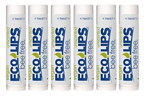 Eco Lips Bee Free Vegan Unscented 100% Natural Lip Balm - Soothe and Moisturize Dry, Cracked and Chapped Lips - Made in USA (6 Tubes)