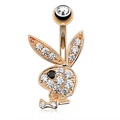 Paved CZ Playboy Bunny Rose Gold 316L Surgical Steel Belly Button Navel Ring
