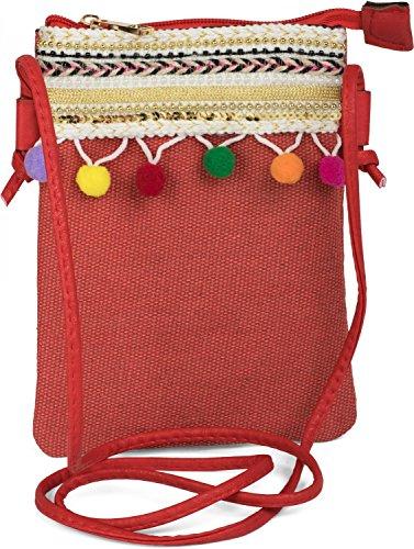 styleBREAKER Minibag Umhängetasche mit Bommel und bunter Schmuck Bordüre im Ethno Style, Schultertasche, Tasche, Damen 02012128, Farbe:Rot
