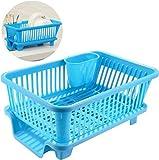 Sinex 3 in 1 Large Durable Sink Plastic Dish Rack Utensil Drainer Drying
