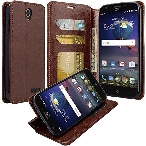 Galaxy Wireless Compatible for ZTE ZMAX Grand, ZTE Champ, ZTE Avid 916, ZTE Grand X 3 Case Flip Folio [Kickstand] Pu Leather Wallet Case with ID Slots for ZTE ZMAX Grand - Brown