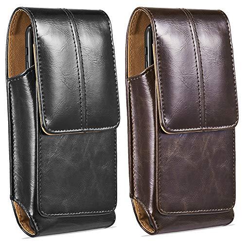 suily Handy Gürtel Holster Taille Tasche, 5,5' Universal Vertical Leder Flip Cover Handy Gürtelclip Fall Magnetverschluss Tasche für iPhone 6 7 8 Plus/11 Pro Android Smartphones (Schwarz+Braun)