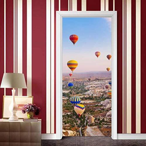 Muursticker, creatief, 3D, Hot Air Ballon, deursticker, om zelf te maken, huisdecoratie, zelfklevend, waterbestendig, wanddecoratie voor slaapkamer, deurdecoratie, 77 x 200 cm
