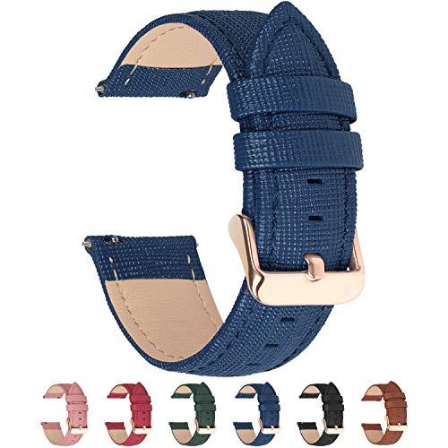 Fullmosa Cinturino per Orologio, Cross Cinturini in Pelle 18mm, Cinturino Orologio a Sgancio Rapido, per LG Watch Style/Huawei Watch 1/ASUS Zenwatch 2 1.45',per Uomo/Donna, 18mm Blu Scuro