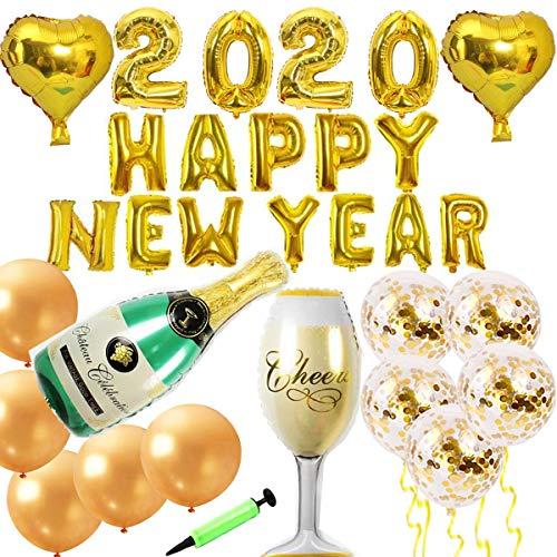 Jolily 2020 Feliz año nuevo Víspera Navidad Decoraciones de fiesta, Enorme copa de champán y globos de papel de botella, 2 globos de corazón, 15 globos de confeti dorado, bomba manual