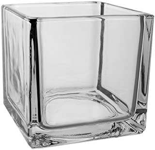 """Floral Supply Online- 5"""" Square Glass Vase. Premium Quality Cube for Candles, Centerpieces, Weddings, Events, Decorating, Arrangements, Flowers, Office, or Home Decor."""
