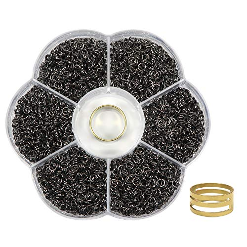 TOAOB 2400pcs Black Open Jump Rings 4mm and Opener Tool for Jewelry Making