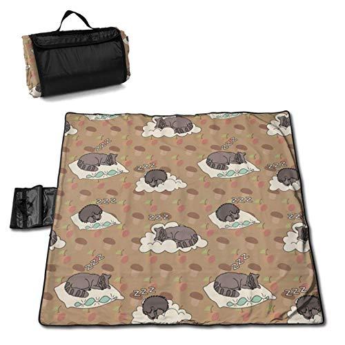 LUCKCHN Manta de picnic para dormir, diseño de mapache, manta de playa, grande para picnic al aire libre, plegable, impermeable, práctica bolsa de 144,8 x 149,9 cm