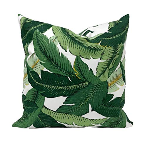 Anyuwerw - Funda de almohada para interiores o exteriores, color verde esmeralda, color verde, marrón y blanco, funda de almohada para decoración del hogar