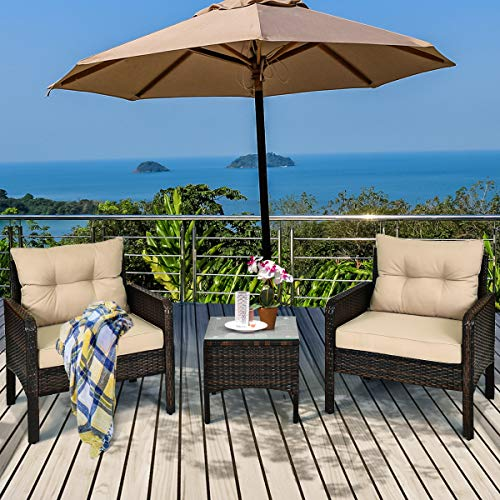Tangkula 3 Piece Outdoor Patio Furniture Set, Wicker Chairs Set with Glass Top Coffee Table, Thick Cushions, All Weather Garden Lawn Poolside Backyard Porch Furniture Set for 2 (Brown)