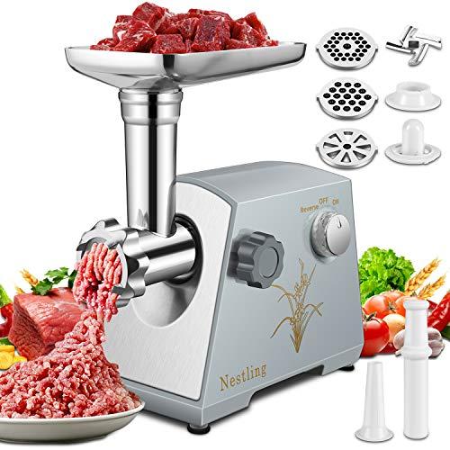 Nestling 2800 Watt Electric Meat Grinder & Sausage Stuffer Kit,Home Food Mincer Meat Grind Steel with 3 Grinding Plates