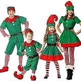 Disfraz de Navidad, Disfraz de Familia de Disfraces de Navidad para Adultos y niños, Disfraz de Elfo navideño Outfits Unisex para Navidad, San Patricio, Día del Carnaval y Cosplay