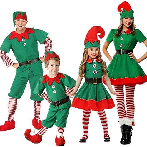 ShangSRS Disfraz de Navidad Conjunto de Cosplay Duende Elfo Navidad Traje Navideño para Adultos y Niños Familia (Niña, 140)