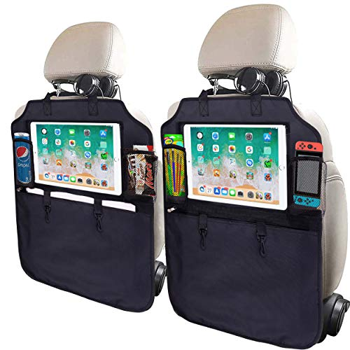 SRAMI Kick Mats Back Seat Protector - Heavy Duty Sag Proof - Seat Back Protector for Kids Feet - Kick Guard - with 13 inch iPad Pro Holder - XL Storage Backseat Organizer Pocket - Tissue Box Included