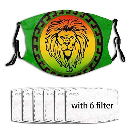 Maske Schutzmaske Thanksgiving Rasta Lion Jamaikanische Reggae-Flagge Grüne Gesichtsmaske Waschbare wiederverwendbare Sturmhaube mit 6-teiligen Filtern Mund-Nasen Bedeckung Halstuch Bandana Maske Scha