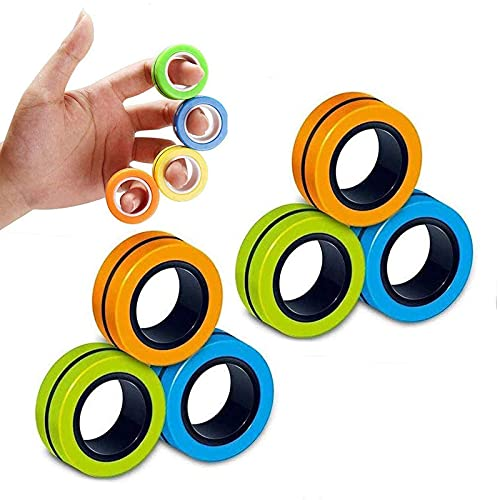 6PCS Magnetic Rings, Fidget Rings,Roller Rings,Adult Finger Fidget Toys, ADHD Anxiety Relief...