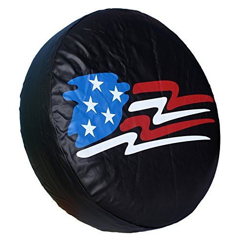 HEALiNK Spare Tire Cover,PVC Leather Waterproof Dust-Proof American Flag Rv Wheel Covers for Jeep Liberty Wrangler SUV Camper Travel Trailer Accessories (14 inch for Tire ? 23