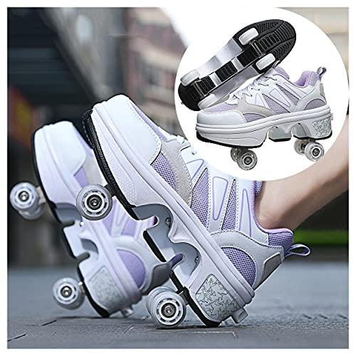 HANHJ VIIPOO Zapatos con Ruedas para Niños Y Niña, Zapatos Multiusos 2 En 1 Patines Zapatillas Deportes Al Aire Libre De Deporte Automático retráctil, cómodo y Transpirable,White-40