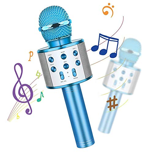 Wireless Bluetooth Kids Karaoke Microphone with LED Lights, 4 in 1 Portable Microphone Mic Speaker Player Recorder for Child's Birthday Party KTV, Gift Toys for 4,5,6,7,8,9,10 Years Old Girls and Boys