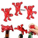 Queta Ensemble créatif pour bouteilles de vin humoristiques avec tire-bouchon + décapsuleur + bouchon de bouteille de vin