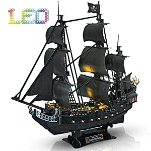 CubicFun 3D Puzzle Led Pirate Ship Queen Anne's Revenge Large 27'' Model Kit Desk Decor Sailboat Vessel Hard Puzzles for Adults 340 Pieces Gifts for Men Women Kids Birthday Gifts for Him Her by Cubicfun