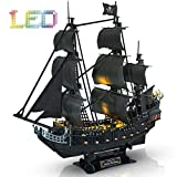CubicFun 3D Puzzle Led Pirate Ship Queen Anne's Revenge Large 27'' Model Kit Desk Decor Sailboat Vessel Hard Puzzles for Adults 340 Pieces Gifts for Men Women Kids Birthday Gifts for Him Her