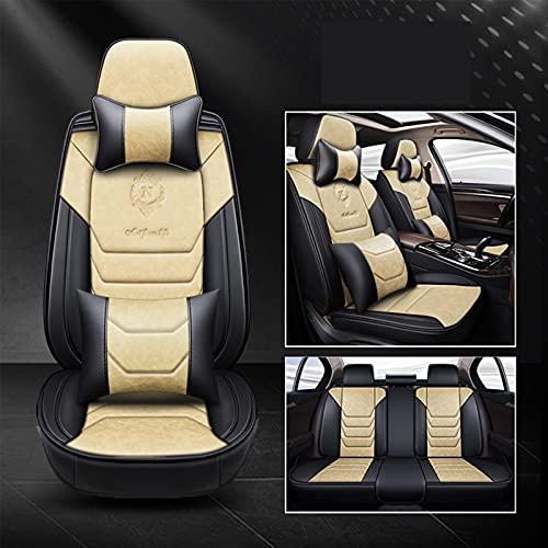 Ciroing Fundas Asientos Coche Accesorios Universales para Fiat Avventura Qubo Uno Strada Tipo 500L 500 500X Cuero Funda Asiento Seat,Beige de Lujo