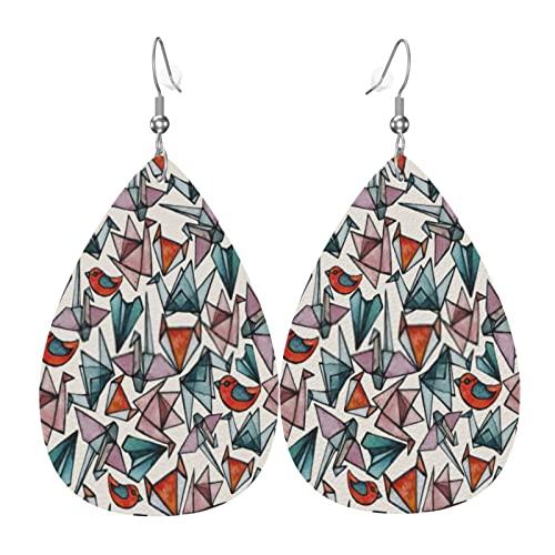 Pendientes de cuero de Halloween para mujer, diseño de lágrima de lágrima de cuero con piezas de origami de vidrieras ligeras en capas