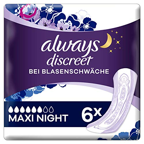 Always Discreet Inkontinenz-Einlagen Plus Maxi Night bei Blasenschwäche 6 Stück