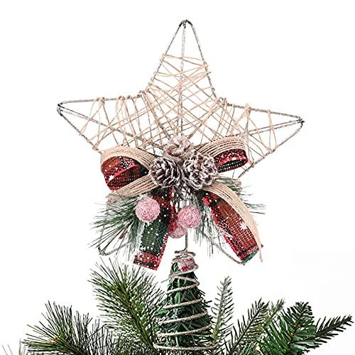 Gukasxi - Puntale per albero di Natale, stella dorata, in metallo, con decorazione per albero di bosco, stella di Natale, albero dorato, per albero di Natale, Natale, vacanze, inverno, festa