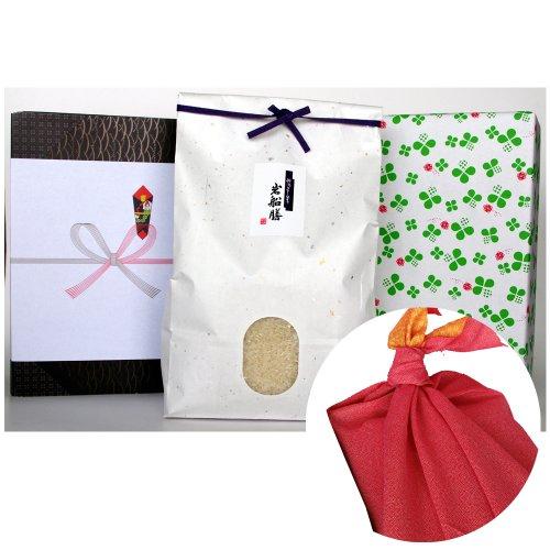 新潟県産コシヒカリ (米袋:白・包装紙:緑・風呂敷:赤)3キロ