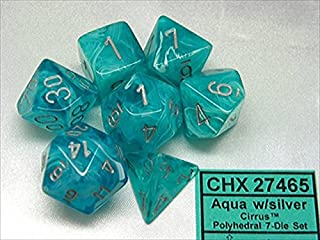 Chessex Manufacturing 27465 Cirrus Aqua With Silver Numbers Dice Set Of 7