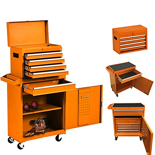 5-Drawer Rolling Tool Chest, Keyed Locking System Tool Box Big Tool Cabinet with Sliding Drawers and 4 Universal Wheels, Movable Toolbox for Workshop Garage (Orange)