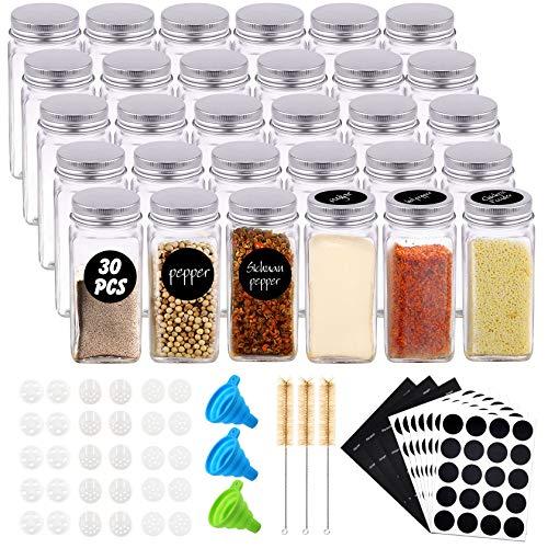 Yosemy 30 Bote Especias Cristal 120ml Tarros Especieros con Tapa Rosca Botes Cocina para Condimentos Almacenamiento con 3 Embudos 200 Etiquetas 3 Cepillos de Limpieza 60 Tamiz 10,5*4,4 cm