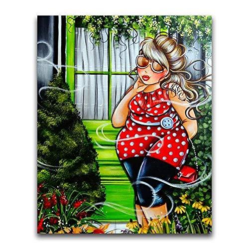 5D DIY diamant painting volwassenen kristal strass kruissteek-mozaïek volledige drill set knutselen borduurwerk voor huis muur decoratie dikke vrouw in zonnebril B155 30x40cm Ronde draad.