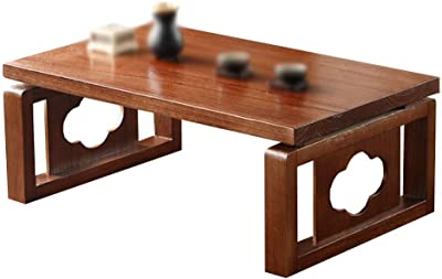 Removable Small Table Tatami Tea Table Bed Office Tea Table Multifunctional Study Table Indoor Wooden Table (Color : Brown, Size : 50 * 40 * 30cm)
