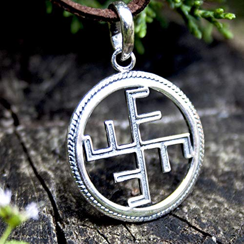Viking Icelandic Magic Cross Pendant Necklace Sterling Silver 925 Norse Mythology Ginfaxi Stave...