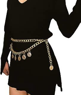 Nicute Boho Coin Tassel Waist Chain Gold Layered Body Chains Body Jewelry for Women and Girls